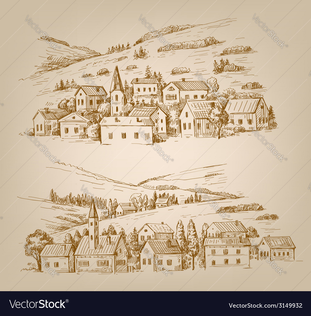 Hand drawn village vector | Price: 1 Credit (USD $1)