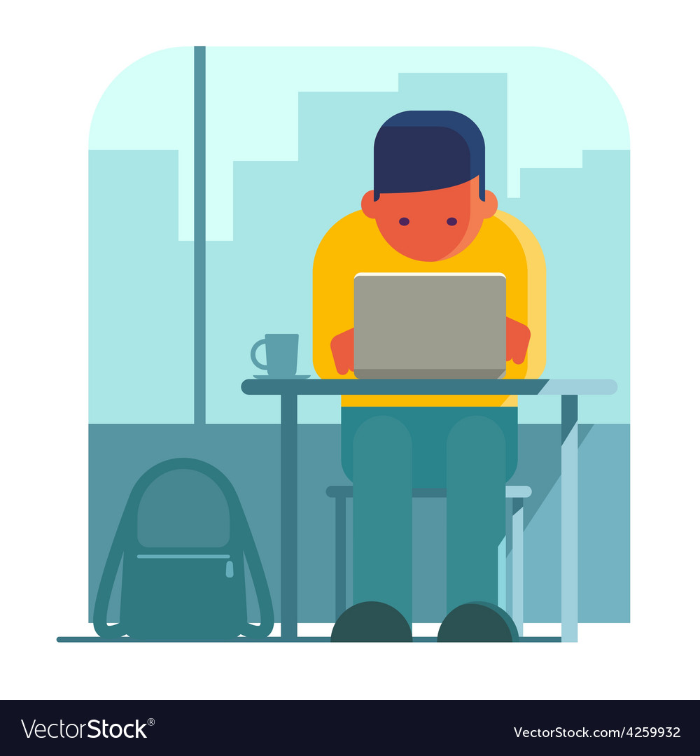 Man working on laptop in cafe vector | Price: 1 Credit (USD $1)