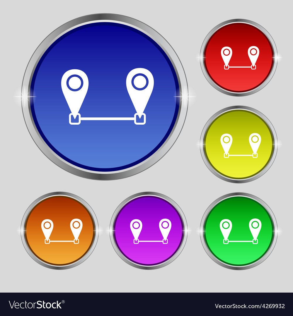 Map pointer icon sign round symbol on bright vector | Price: 1 Credit (USD $1)