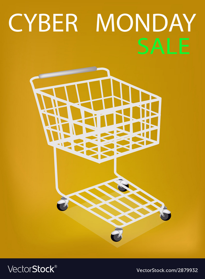 Shopping cart on cyber monday sale promotion vector | Price: 1 Credit (USD $1)