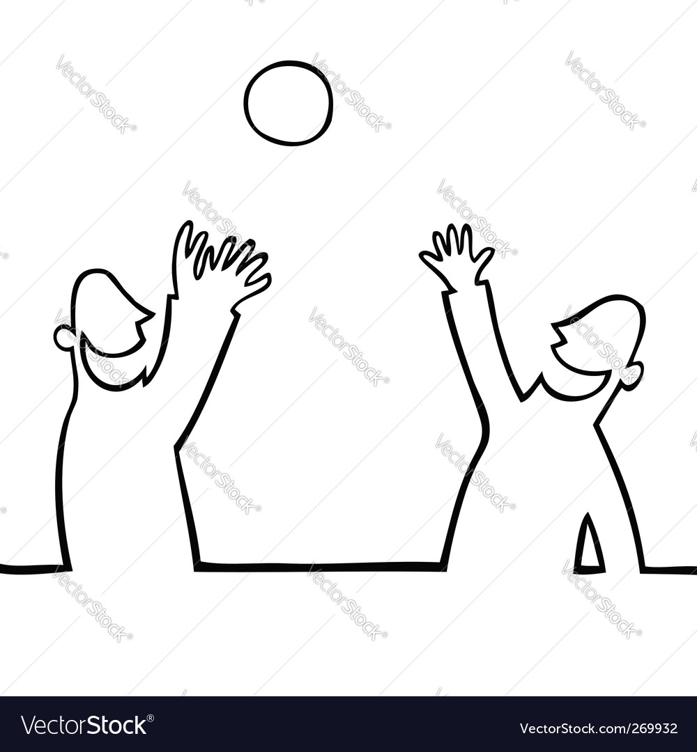 Two people throwing a ball vector | Price: 1 Credit (USD $1)