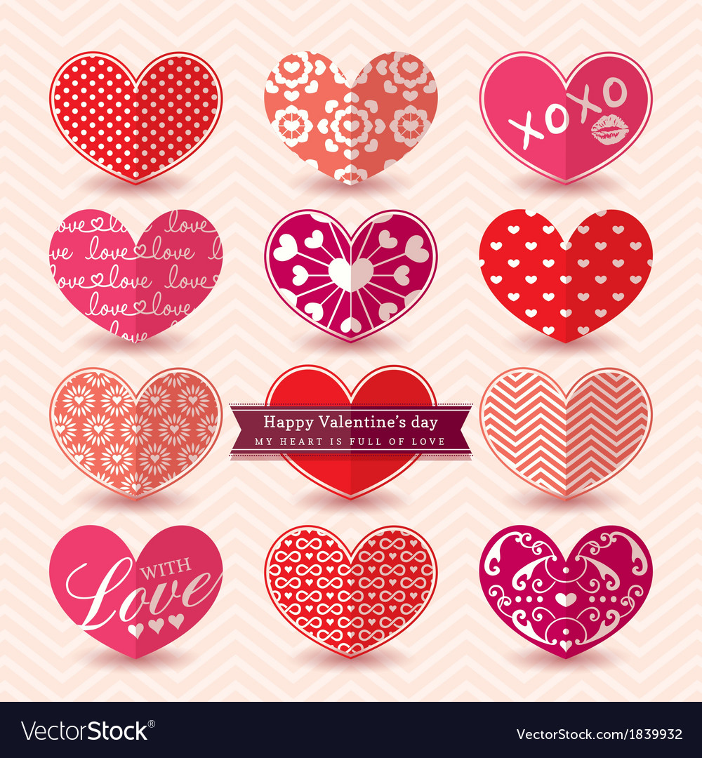 Valentines day heart symbol elements pattern vector | Price: 1 Credit (USD $1)