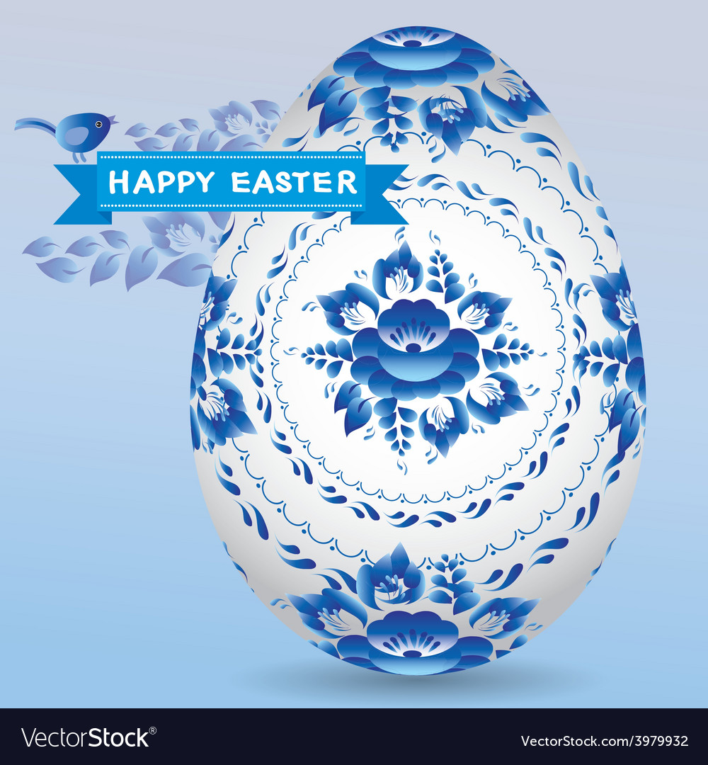 Vintage card with egg gzhel blue floral ornament vector | Price: 1 Credit (USD $1)