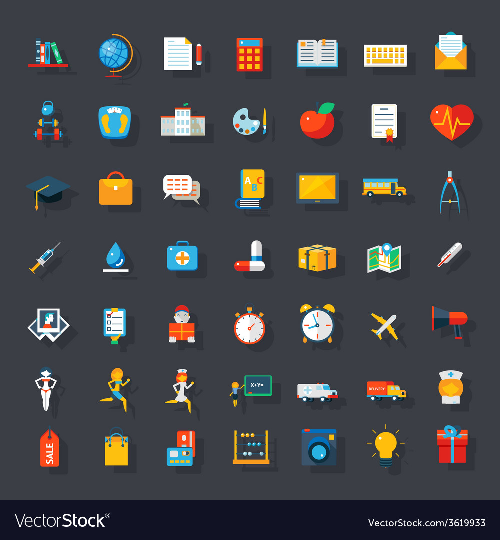Big flat icons set vector | Price: 1 Credit (USD $1)