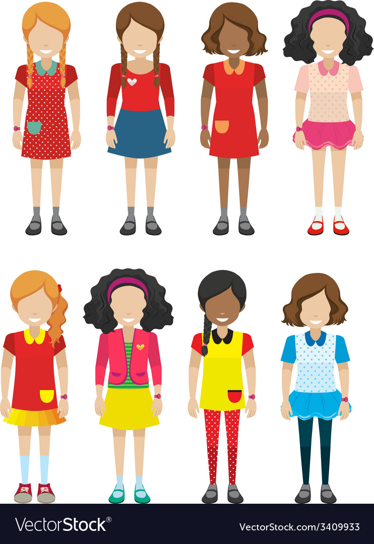 Faceless female kids vector | Price: 1 Credit (USD $1)