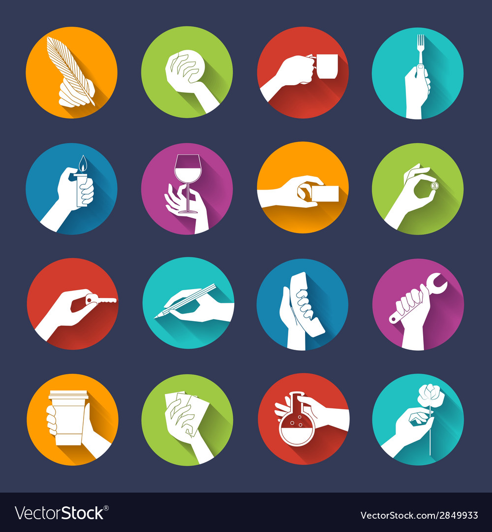 Hand holding objects flat set vector | Price: 1 Credit (USD $1)