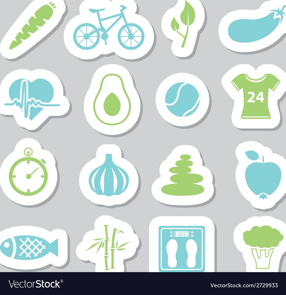Health lifestyle stickers vector | Price: 1 Credit (USD $1)
