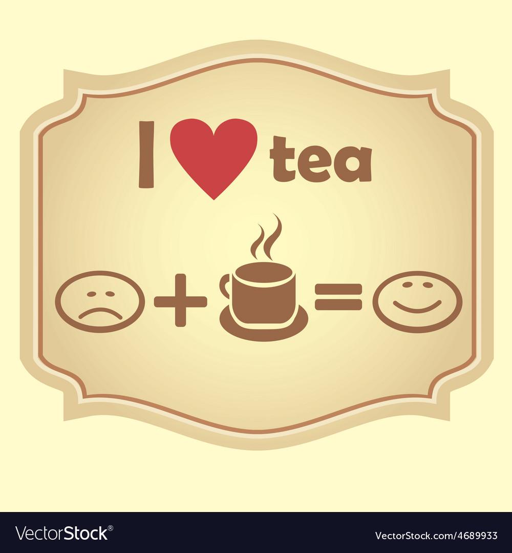 I love tea retro icon vector | Price: 1 Credit (USD $1)