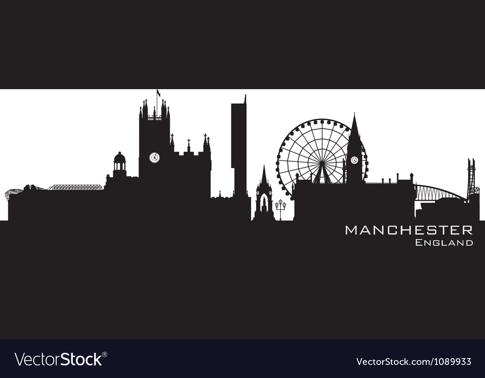 Manchester england skyline detailed silhouette vector | Price: 1 Credit (USD $1)