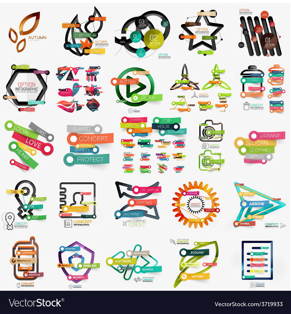 Mega collection of various web infographics vector | Price: 1 Credit (USD $1)