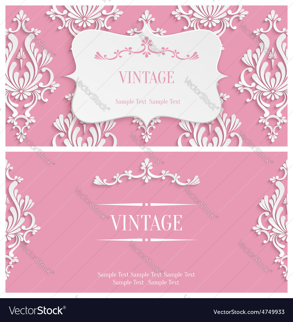 Pink 3d vintage invitation template with vector | Price: 1 Credit (USD $1)