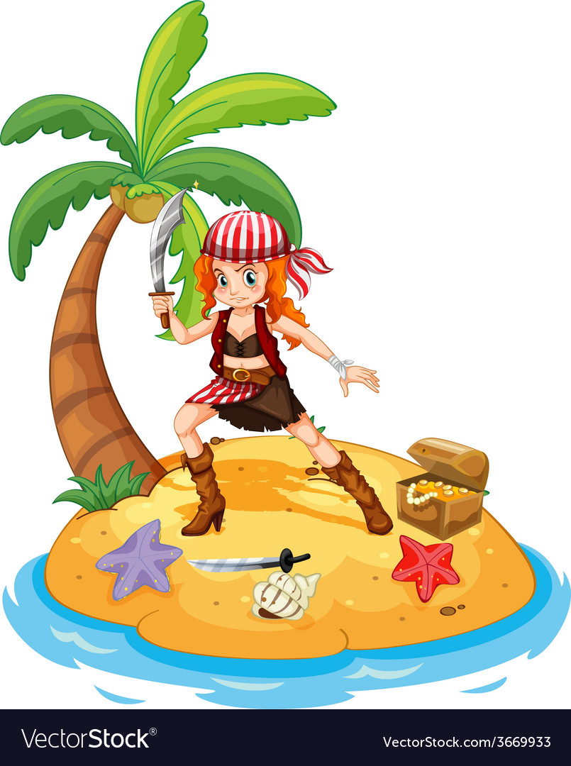 Pirate and island vector | Price: 1 Credit (USD $1)