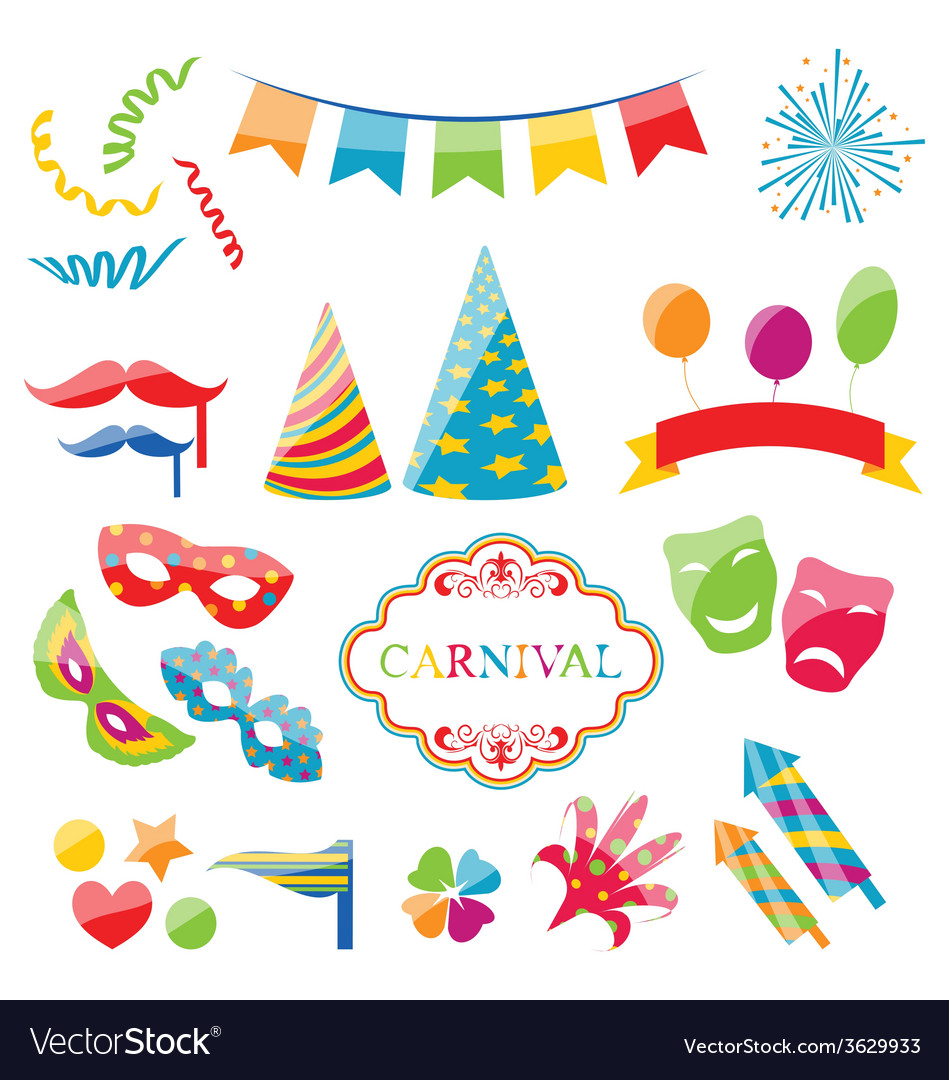 Set colorful objects of carnival party birthday vector | Price: 1 Credit (USD $1)