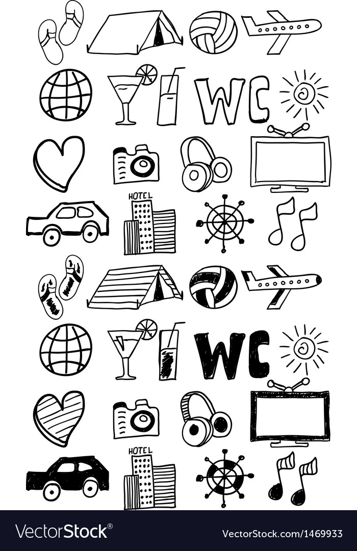 Travel icons set  doodles hand drawn vector | Price: 1 Credit (USD $1)