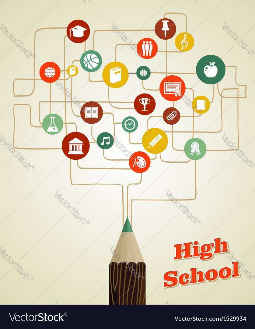 Back to school education pencil social network vector | Price: 1 Credit (USD $1)