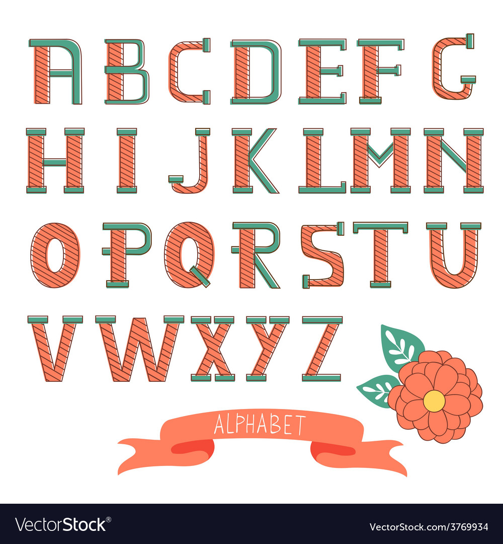 Beautiful font with stripy letters vector | Price: 1 Credit (USD $1)