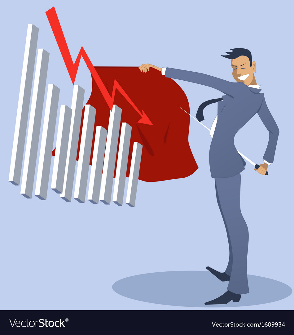 Businessman bullfighter with an attacking graph vector   Price: 1 Credit (USD $1)