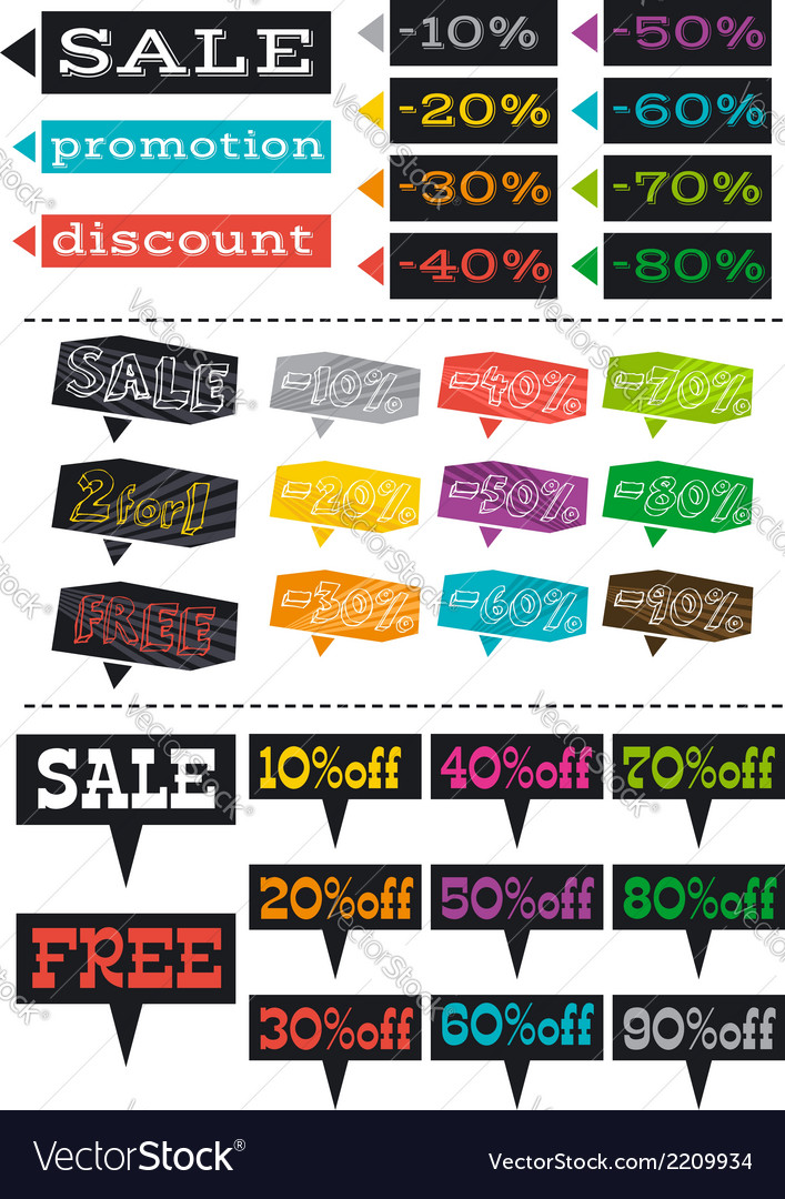 Color labels with sale offer vector | Price: 1 Credit (USD $1)