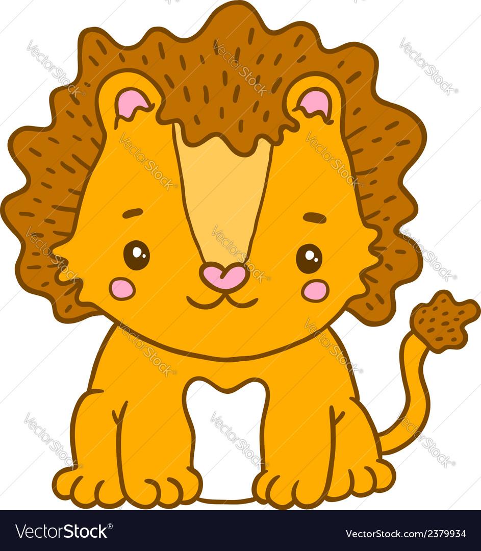 Cute cartoon baby lion vector | Price: 1 Credit (USD $1)