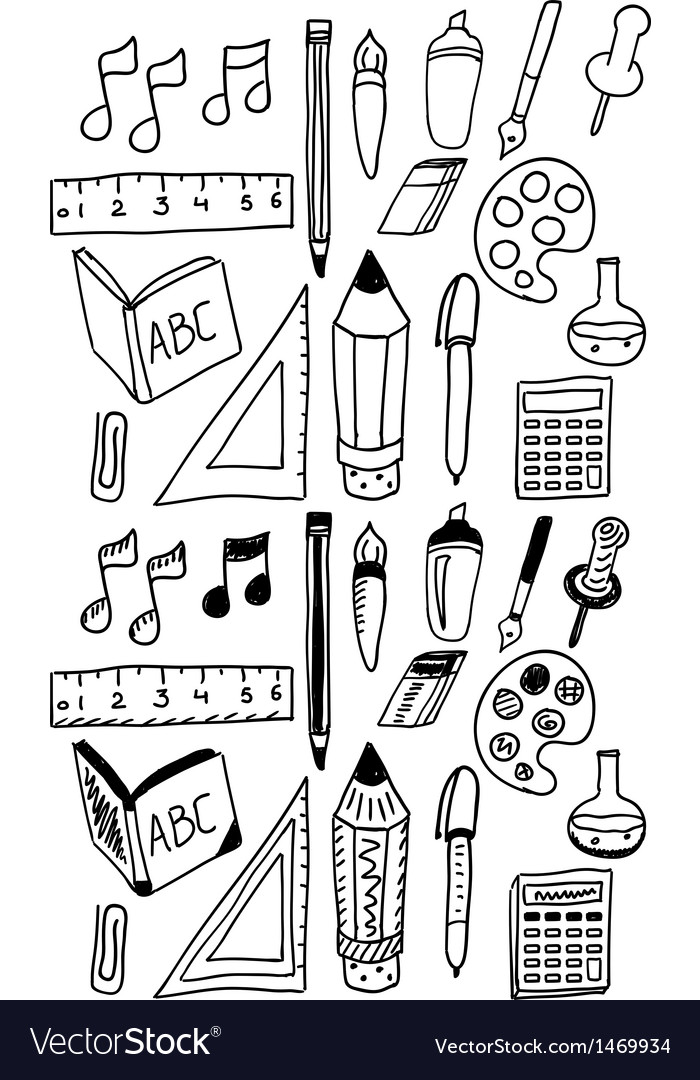 Hand drawn back to school dooldes  icons set vector | Price: 1 Credit (USD $1)