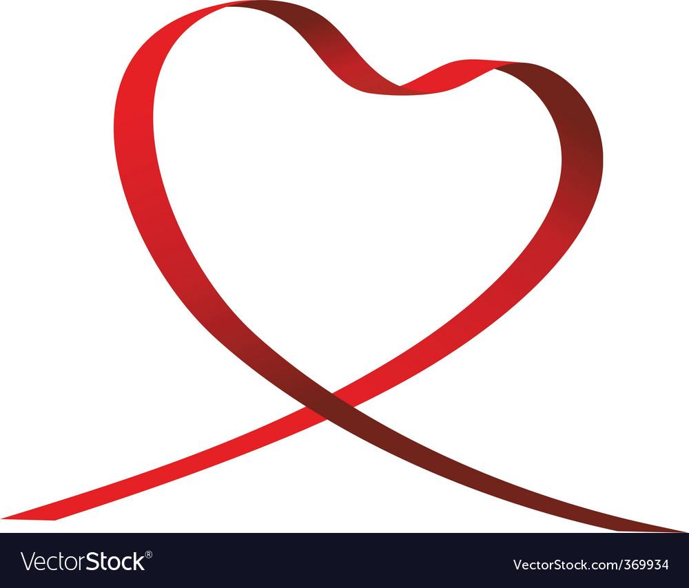 Heart shaped ribbon vector | Price: 1 Credit (USD $1)