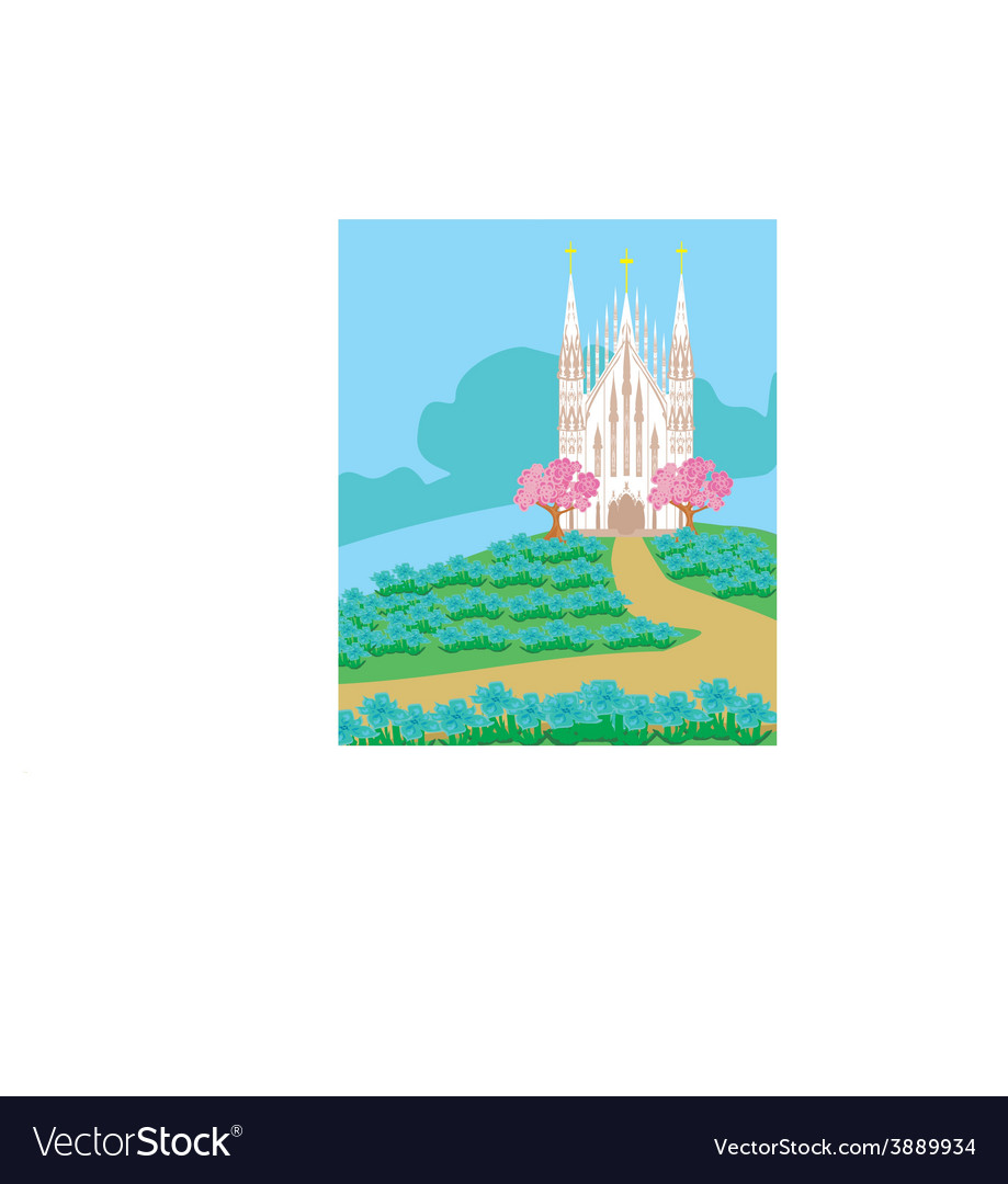 Landscape with a beautiful catholic church vector | Price: 1 Credit (USD $1)