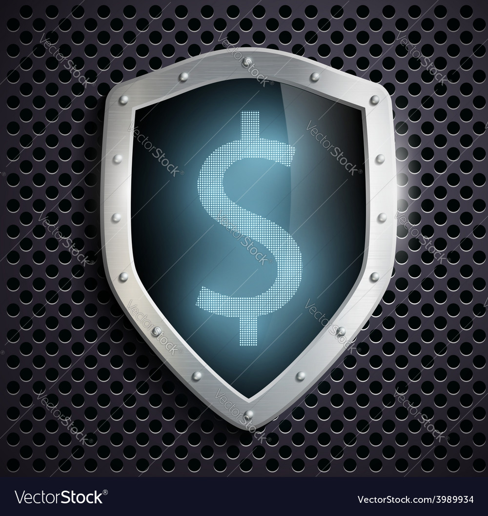 Metal shield with the image of dollar vector | Price: 1 Credit (USD $1)