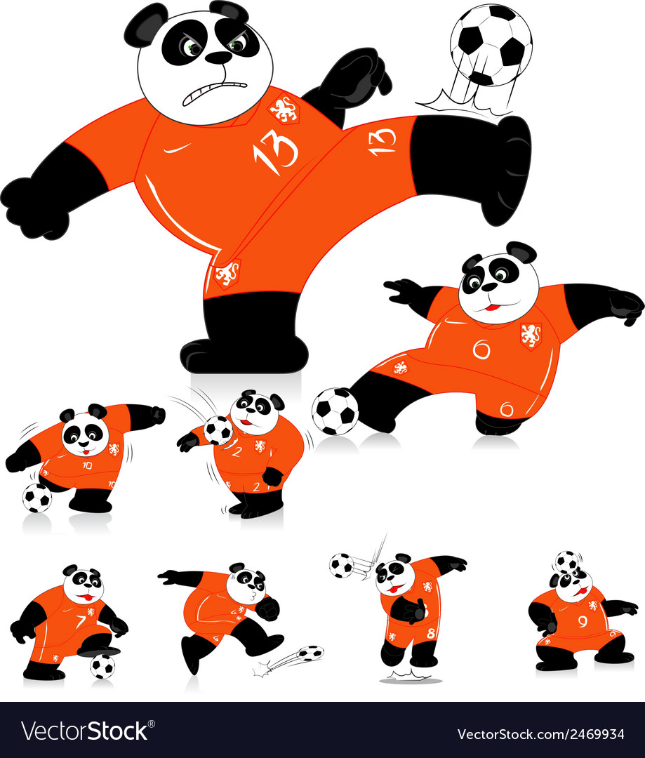 Panda soccer holland all action vector | Price: 1 Credit (USD $1)