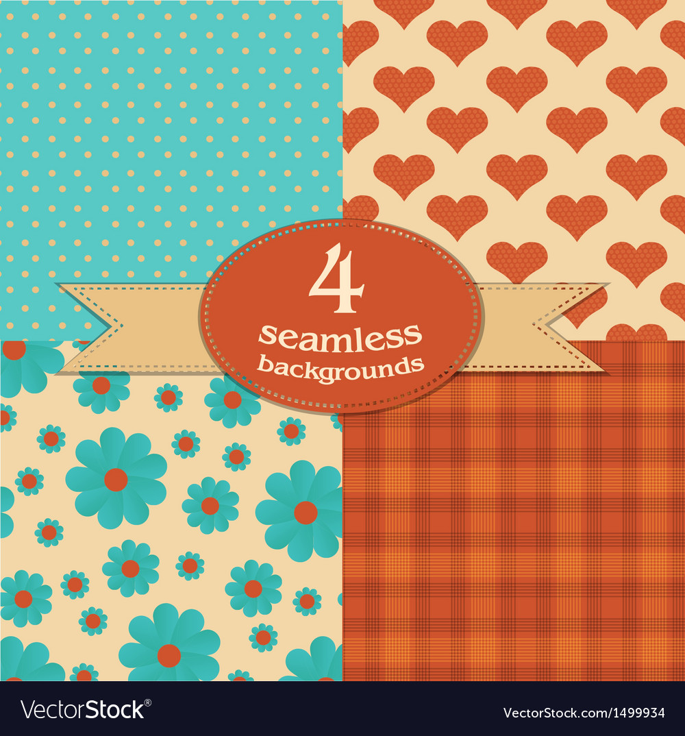 Set of 4 seamless backgrounds vector | Price: 1 Credit (USD $1)