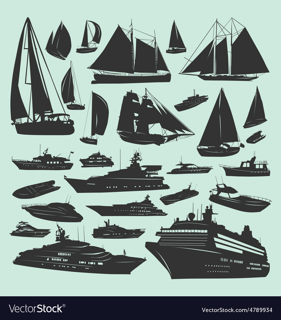 Silhouettes of boats vector   Price: 1 Credit (USD $1)
