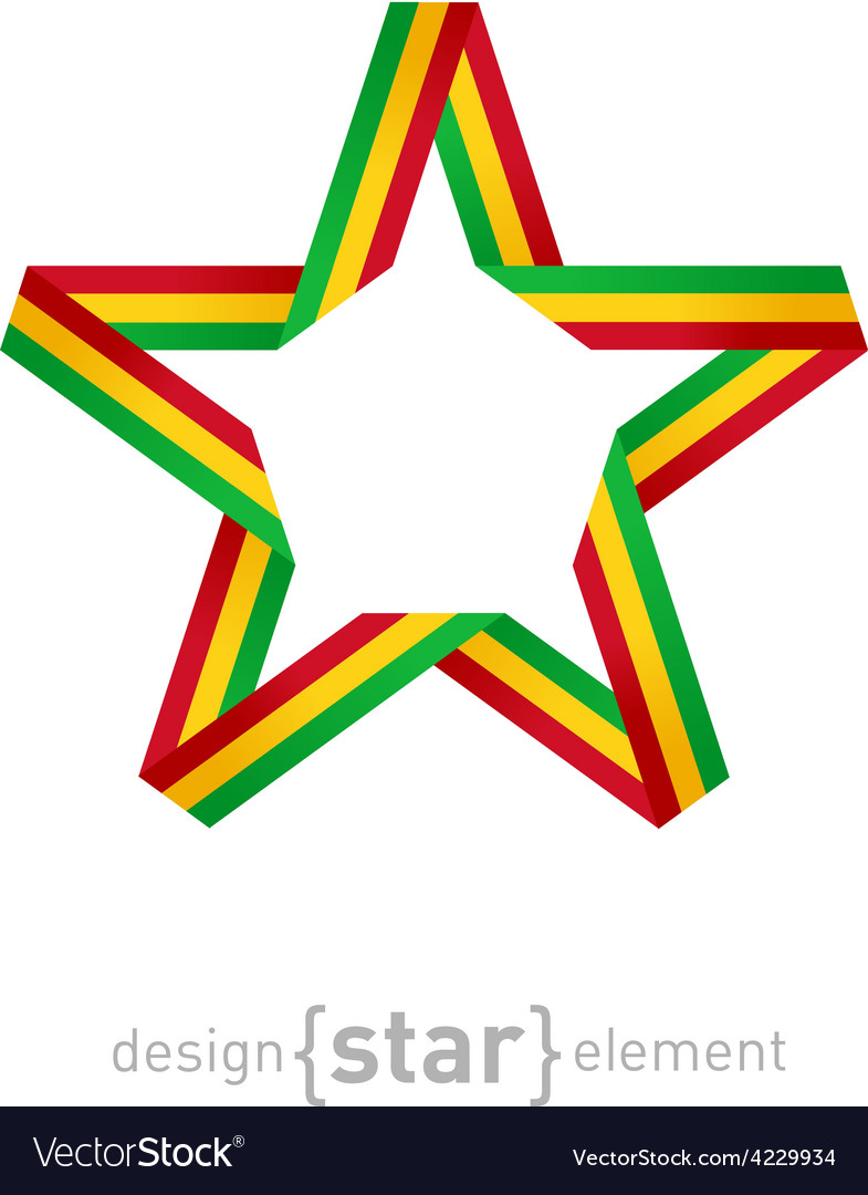 Star with flag of mali colors design element vector | Price: 1 Credit (USD $1)