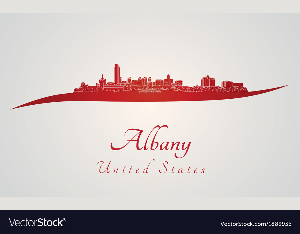 Albany skyline in red vector | Price: 1 Credit (USD $1)