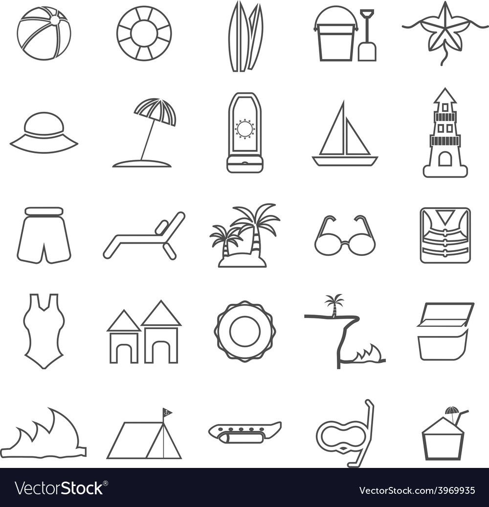 Beach line icons on white background vector   Price: 1 Credit (USD $1)