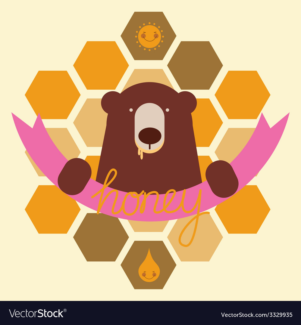 Bear and honey emblem vector | Price: 1 Credit (USD $1)