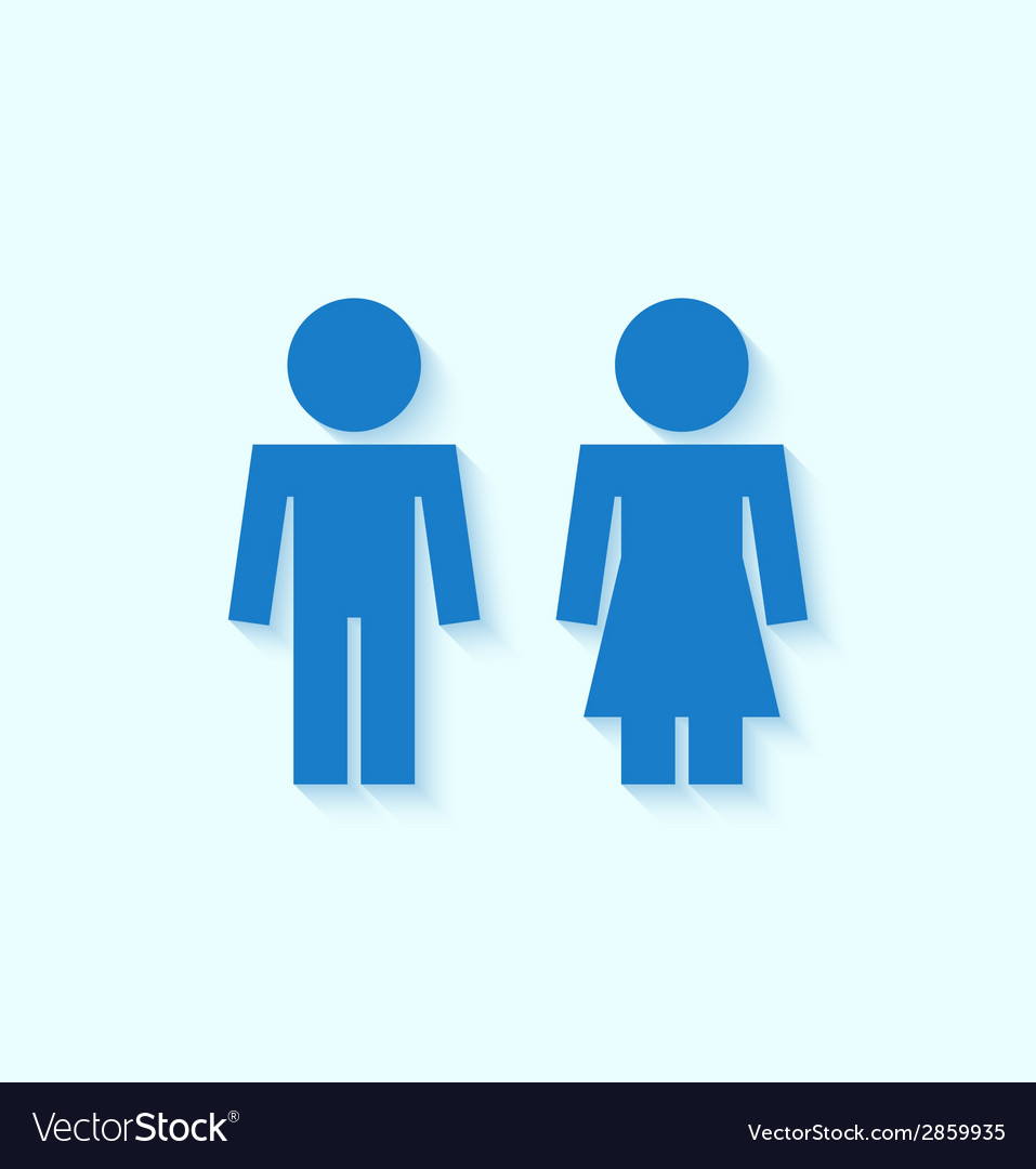 Blue man and woman icons for toilet or restroom vector | Price: 1 Credit (USD $1)