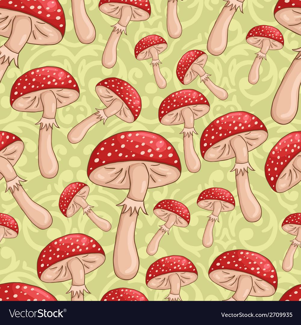 Cute sketch amanita mushrooms background vector | Price: 1 Credit (USD $1)