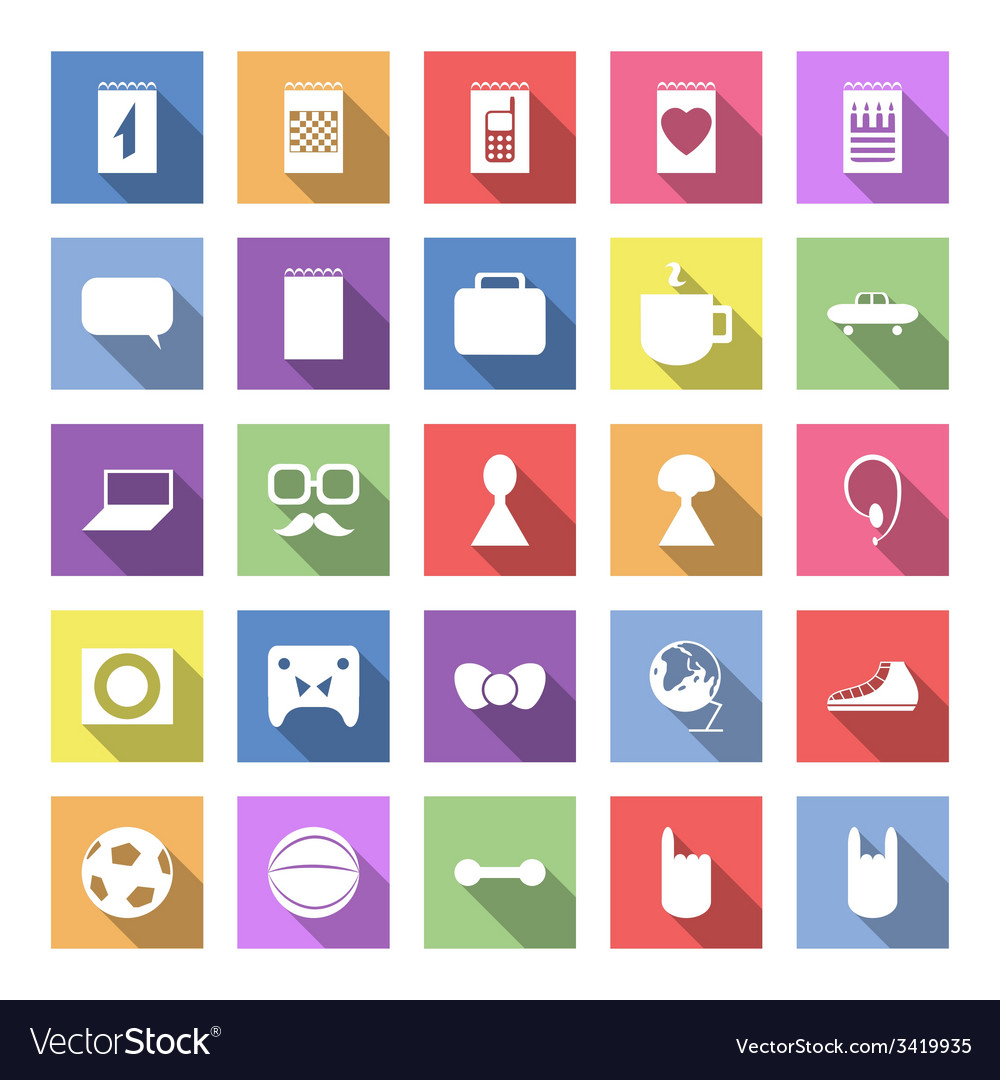 Flat icon set with long shadow for web vector | Price: 1 Credit (USD $1)