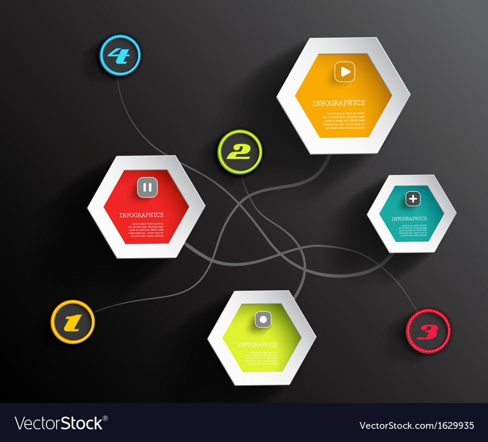 Info graphic circles and hexagons with place for vector | Price: 1 Credit (USD $1)