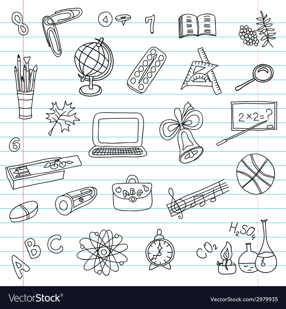 School objects set vector | Price: 1 Credit (USD $1)