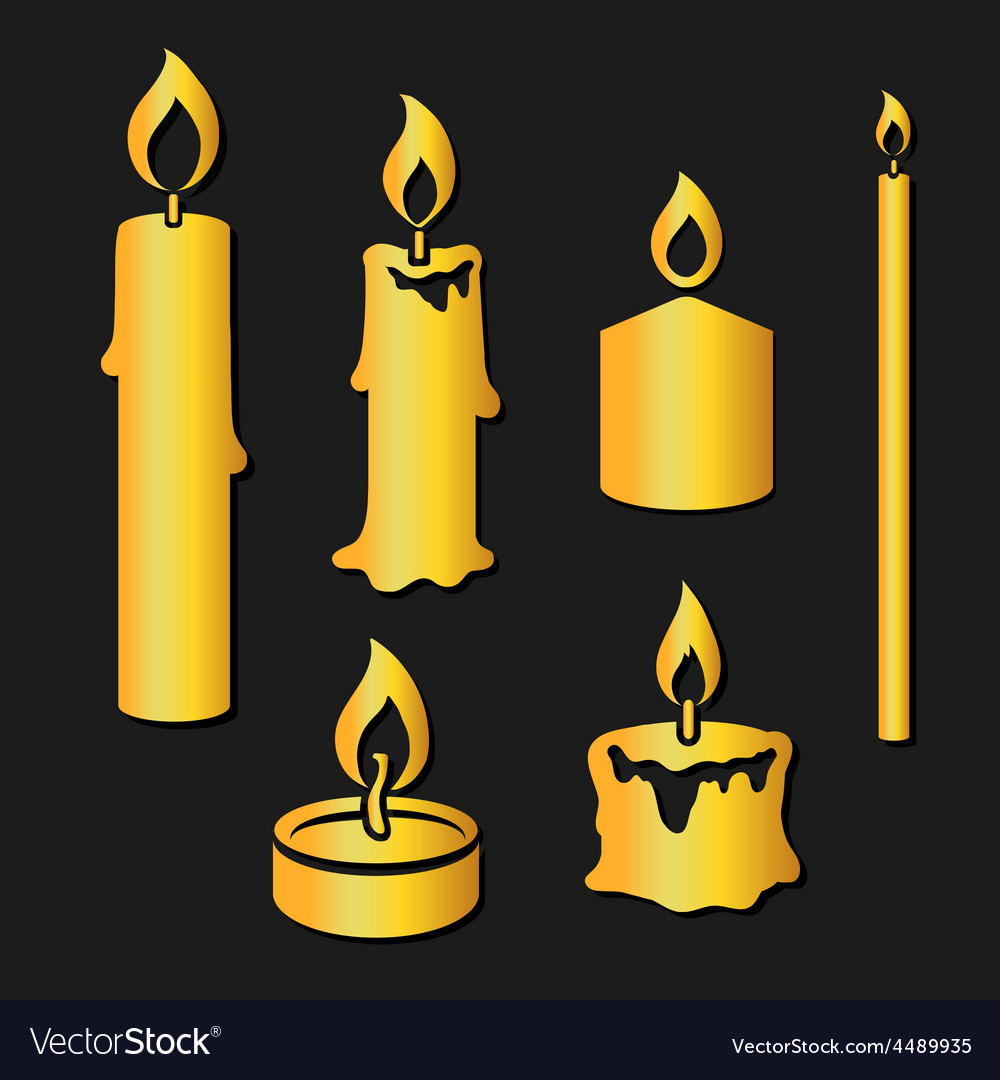 Set of gold silhouette burning candles vector