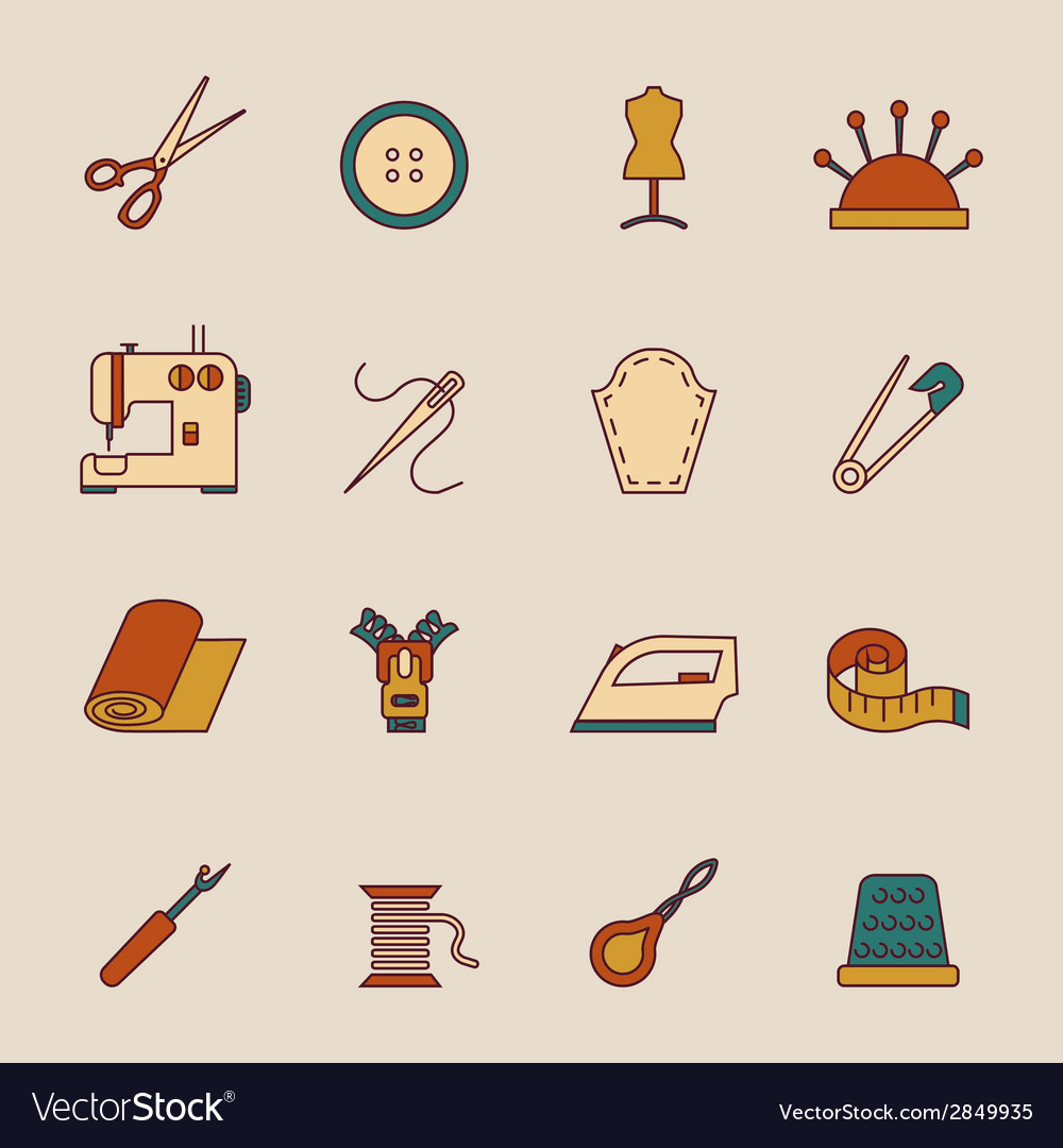 Sewing equipment icons set vector | Price: 1 Credit (USD $1)