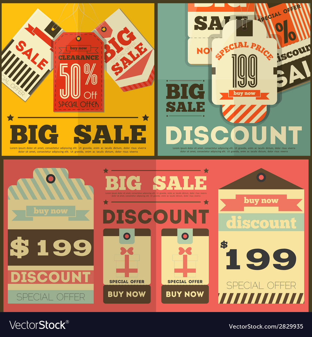 Tag price flat retro vector | Price: 1 Credit (USD $1)