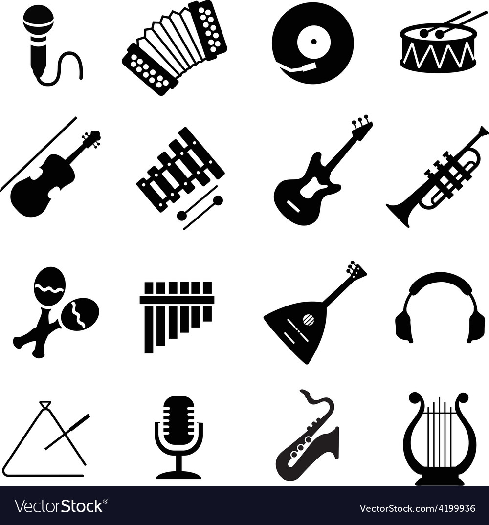 Assorted black musical instruments icons vector | Price: 1 Credit (USD $1)