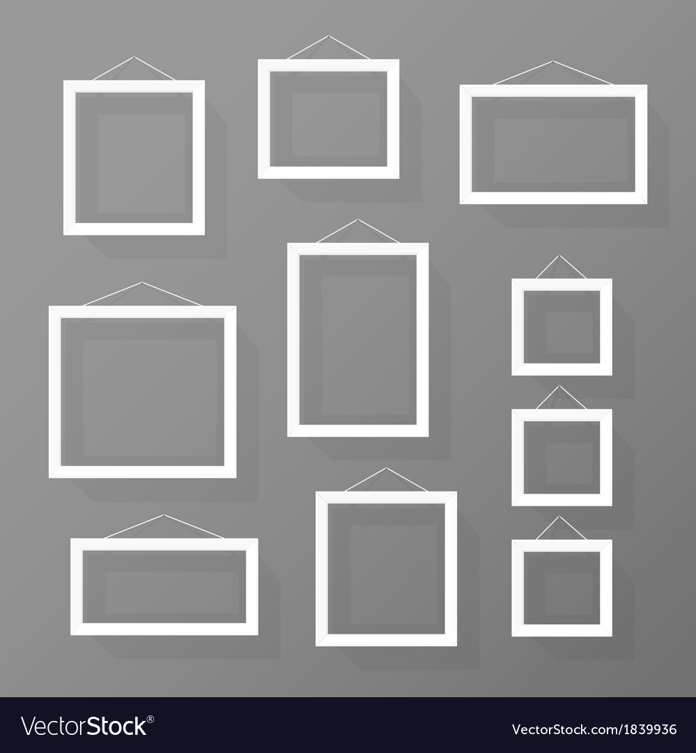 Blank picture frames set on the wall vector | Price: 1 Credit (USD $1)