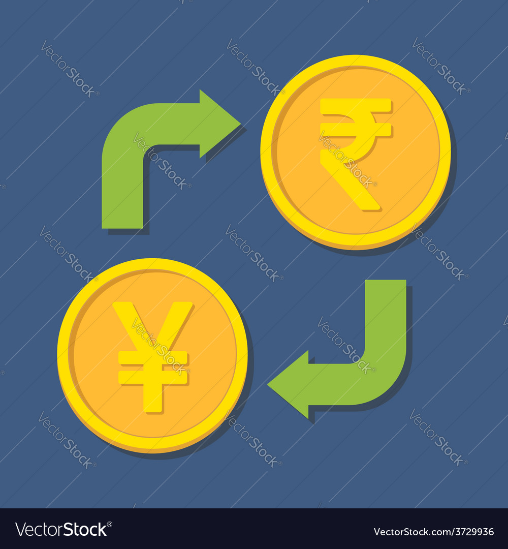 Currency exchange yenyuan and rupee vector | Price: 1 Credit (USD $1)