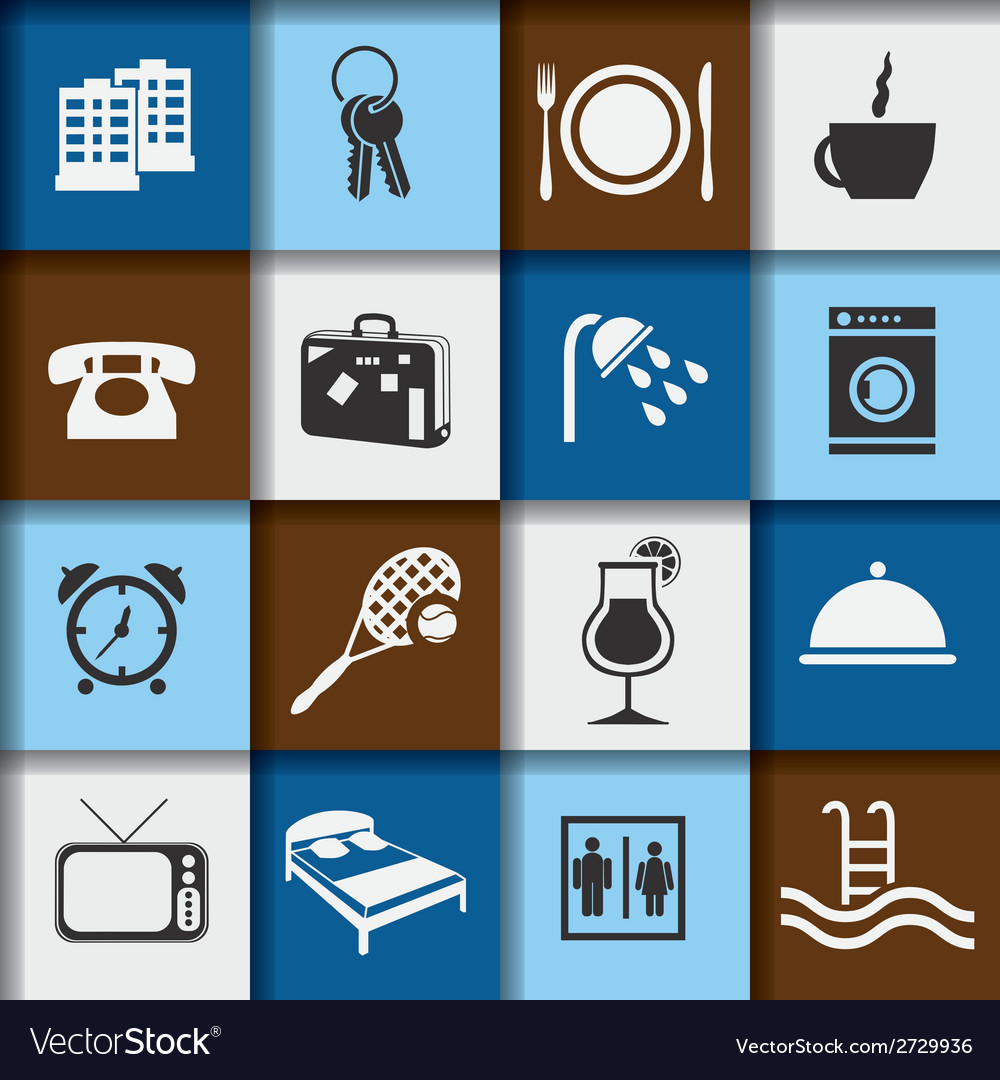 Hotel and accommodation icons vector | Price: 1 Credit (USD $1)