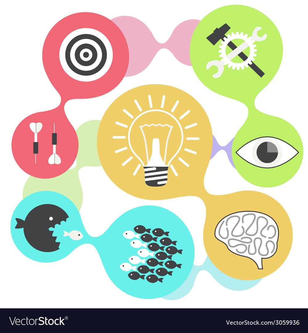 Icon set brain light bulb darts target fish eye vector | Price: 1 Credit (USD $1)