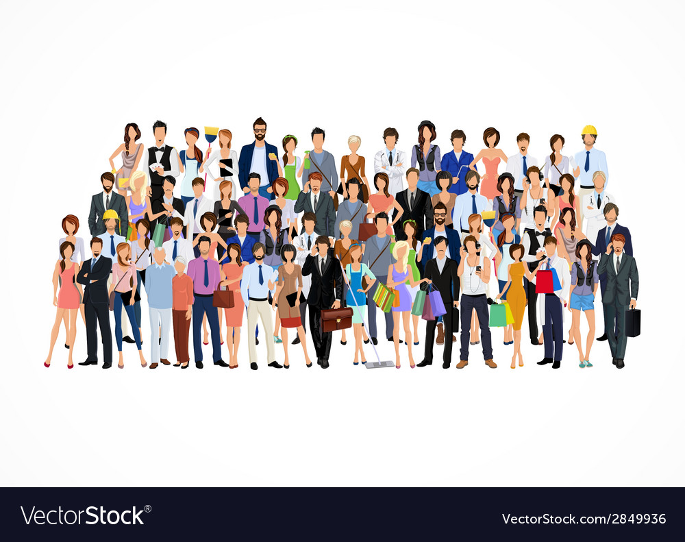 Large group of people vector | Price: 1 Credit (USD $1)