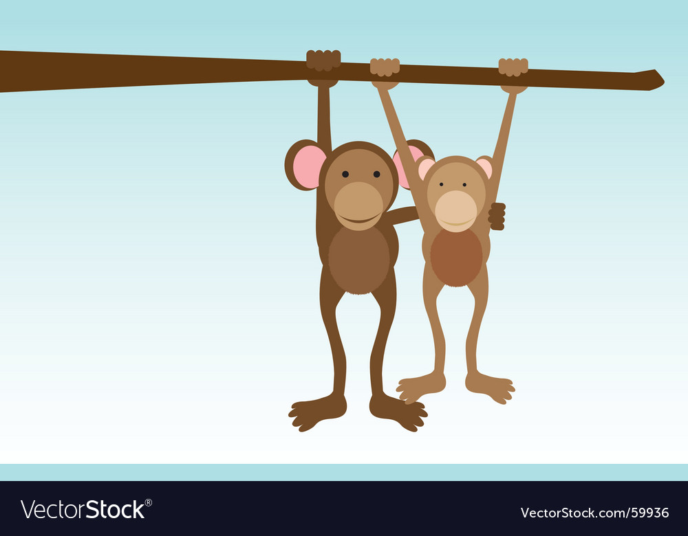 Monkey love vector | Price: 1 Credit (USD $1)