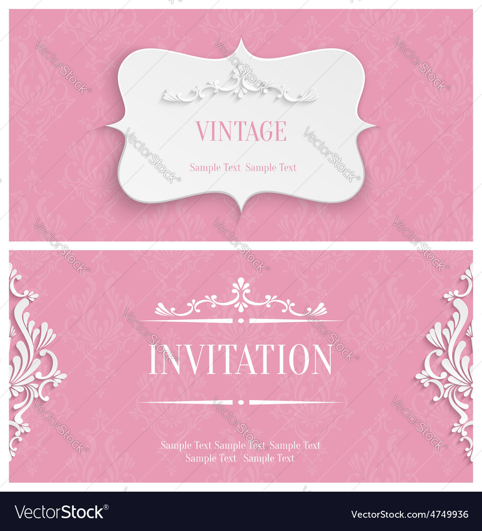 Pink 3d vintage invitation card with floral vector | Price: 1 Credit (USD $1)